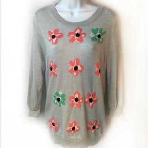 New J.Crew Merino Wool Graphic Flower Sweater